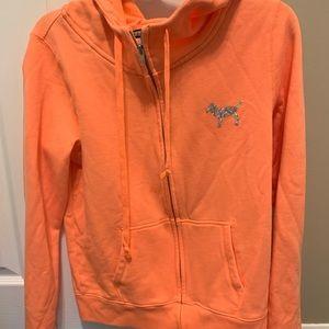 Pink full zip up sweatshirt
